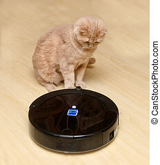 Robotic vacuum cleaner on the floor with a surprised cat