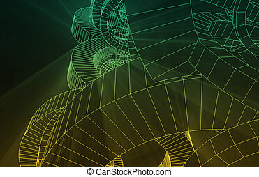 Robotic Wire Mesh Background of Wireframe as Art