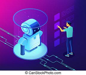 Robotics data analysis concept vector isometric illustration.