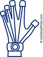 Robotics hand line icon concept. Robotics hand flat vector symbol, sign, outline illustration.
