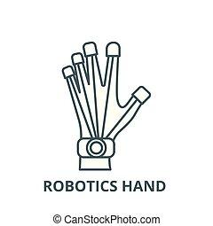 Robotics hand vector line icon, linear concept, outline sign, symbol