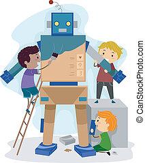 Illustration of Kids Building a Robot