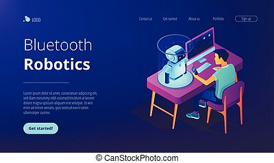 Robotics engineer at desk with computer and mobile phone programming robot. Robotics process automation and technology, bluetooth robotics concept. Isometric 3D website app landing web page template
