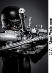 Robotics. Starfighter with huge plasma rifle, fantasy concept, military helmet and goggles motorcyclist