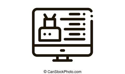 robotique, icône, site, toile, animation