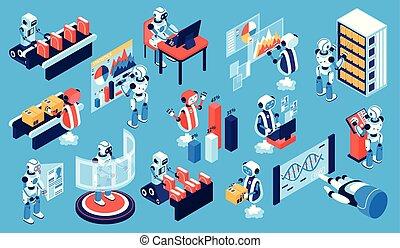 robotique, processus, isométrique, ensemble