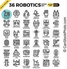 robotique, technologie, contour, icônes