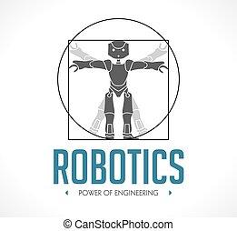 robotique, -, vitruvian homme, logo