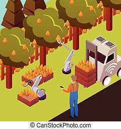 Robotised Fruit Collection Background - Agricultural robots...