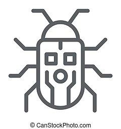 robotization, アイコン, ロボティック, ベクトル, ロボット, 印, 虫, graphics., スタイル, かぶと虫, 概念, 網, 白, アウトライン, design., 線, アイコン, 概念, モビール, 背景