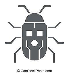 robotization, アイコン, ロボティック, ベクトル, ロボット, 印, 虫, graphics., スタイル, かぶと虫, 概念, 網, 白, glyph, 固体, design., アイコン, 概念, モビール, 背景