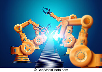 Robotization, industrial robot manipulator, orange, modern conveyor automated. The concept of a shortage of jobs, robots against people, reducing human. 3D Illustration, 3D Rendering.