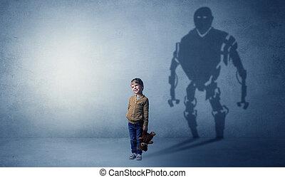 Robotman shadow of a cute little boy