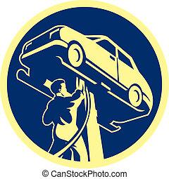 robotnik automobilu, samochód, wóz naprawa, retro
