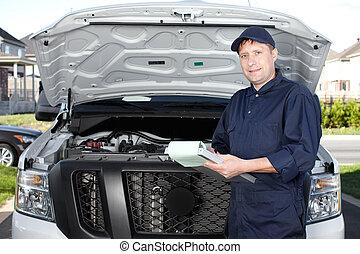 robotnik wozu, pracujący, w, automobil naprawa, service.