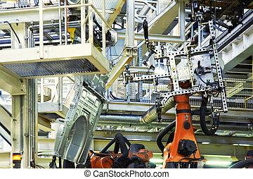 robotok, egy kocsiban, gyár