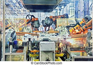 robotok, hegesztés, egy kocsiban, gyár