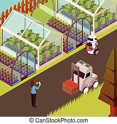 Robots And Hothouse Background - Agricultural robots ...