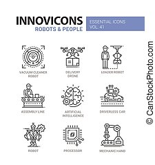 Robots and People - modern vector line design icons set....