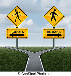 Robots and society concept or dilemma with robotic technology effects on social lifestyle as a 3D traffic sign with a futuristic humanoid cyborg icon as a symbol of artificial intelligence or self driving car engineering.