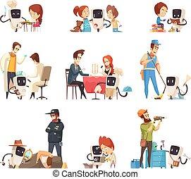 Robots Assistants Cartoon Icons Set
