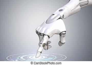 robot's, botão empurra, mão