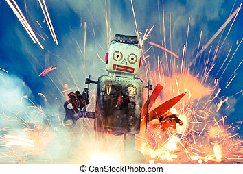 robots -  burnt robot toys