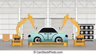 Robots car - Robots are working with auto parts in factory.