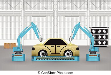 Robots cars - Robots are working with auto parts in factory.