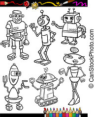 Robots Cartoon Set for coloring book - Coloring Book or Page...