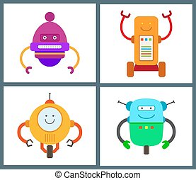 Robots Collection of Types Vector Illustration