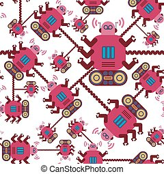 Robots color seamless pattern on white background.