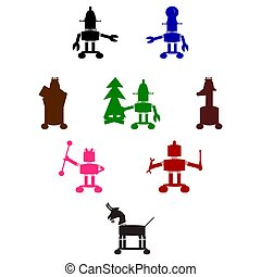 Robots colorful silhouettes