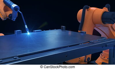 Robots Cutting Metal Process at Workshop. High Precision Modern Tools in Heavy Industry. Automatic work. Technology and Industrial Concept. 4k Ultra HD 3840x2160.