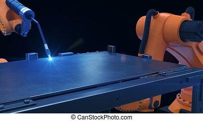Robots Cutting Metal Process at Workshop. High Precision...