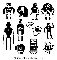 Robots, cyborgs, androids and artificial intelligence vector...