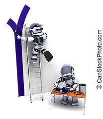 robots, décorer, a, mur