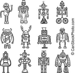 Funny robots toys doodle style black icons pictures collection with tinker man and owl isolated vector illustration