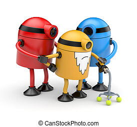 Robots family - Family of old robots cyclops help old robot...