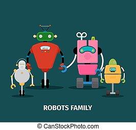Robots family with kids, vector illustration on dark...