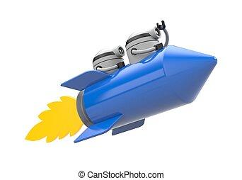 Robots flying on the rocket. 3d illustration
