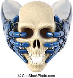 robot's, garde, crâne humain, main