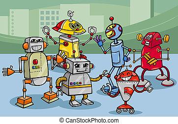 robots, groep, spotprent, illustratie