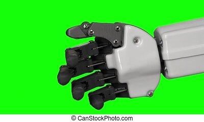 Robot's hand moves his fingers. Black background . Green...