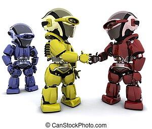 robots in agreement - 3d Render of robots making a deal