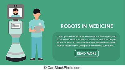 Robots in medicine. Flat illustration. - Flat illustration....