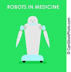 Robots in medicine. Robot nurse. Flat vector illustration