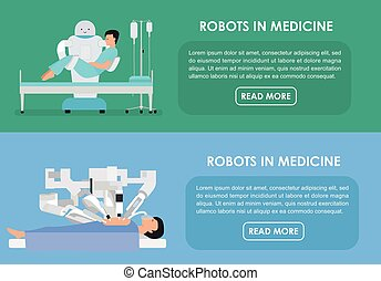 Robots in medicine. Vector illustration. Flat - Robotic...