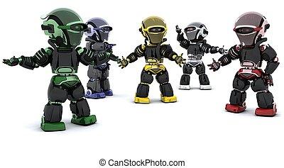 robots inconflict - 3D render of robots in conflict ...
