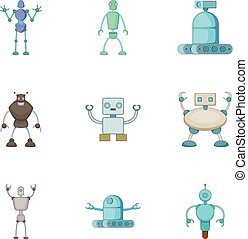 Robots invaders icons set, cartoon style